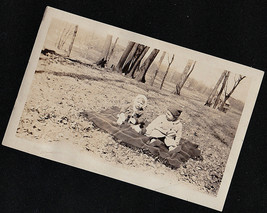 Vintage Antique Photograph Two Adorable Babies Sitting on Blanket in Yard - $6.93