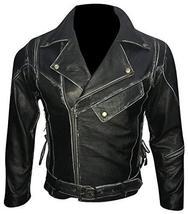 Asymmetrical Zipper Brando Biker Distressed Black Leather Jacket image 1