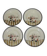 "4 HD Design Whimsical Chefs Waiters 10-3/4"" Dinner Plates Thick Heavy HT... - $44.99"