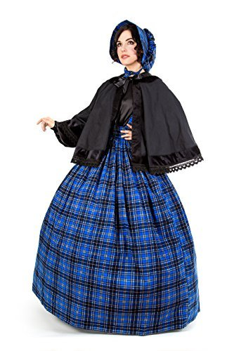 Plaid Tartan Dickens Civil War Costume (L/XL, Blue)