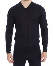 Dolce & Gabbana Blue Silk Cashmere V-neck Sweater Pullover 14925 - $276.58