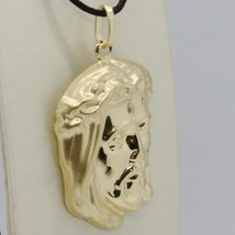 18K YELLOW GOLD JESUS FACE PENDANT CHARM 37 MM, 1.5 IN, FINELY WORKED ITALY MADE image 2