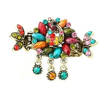 Retro Luxury Aulic Style Crystal Bronze Alloy Hair Claws, Peacock(Multicolor) image 2