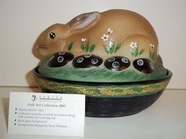 Fenton Glass NATURAL FOLK ART EASTER BUNNY RABBIT BOX DISH 2002 FRANK'S ... - $154.72