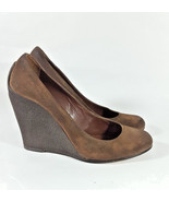 Michael Kors Wedge 7 heels pumps brown suede x - $18.69