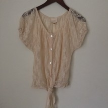 Trendy Sheer Cream / Ivory JUNIORS Top BLOUSE. Size Large. Knot at waist... - $16.99