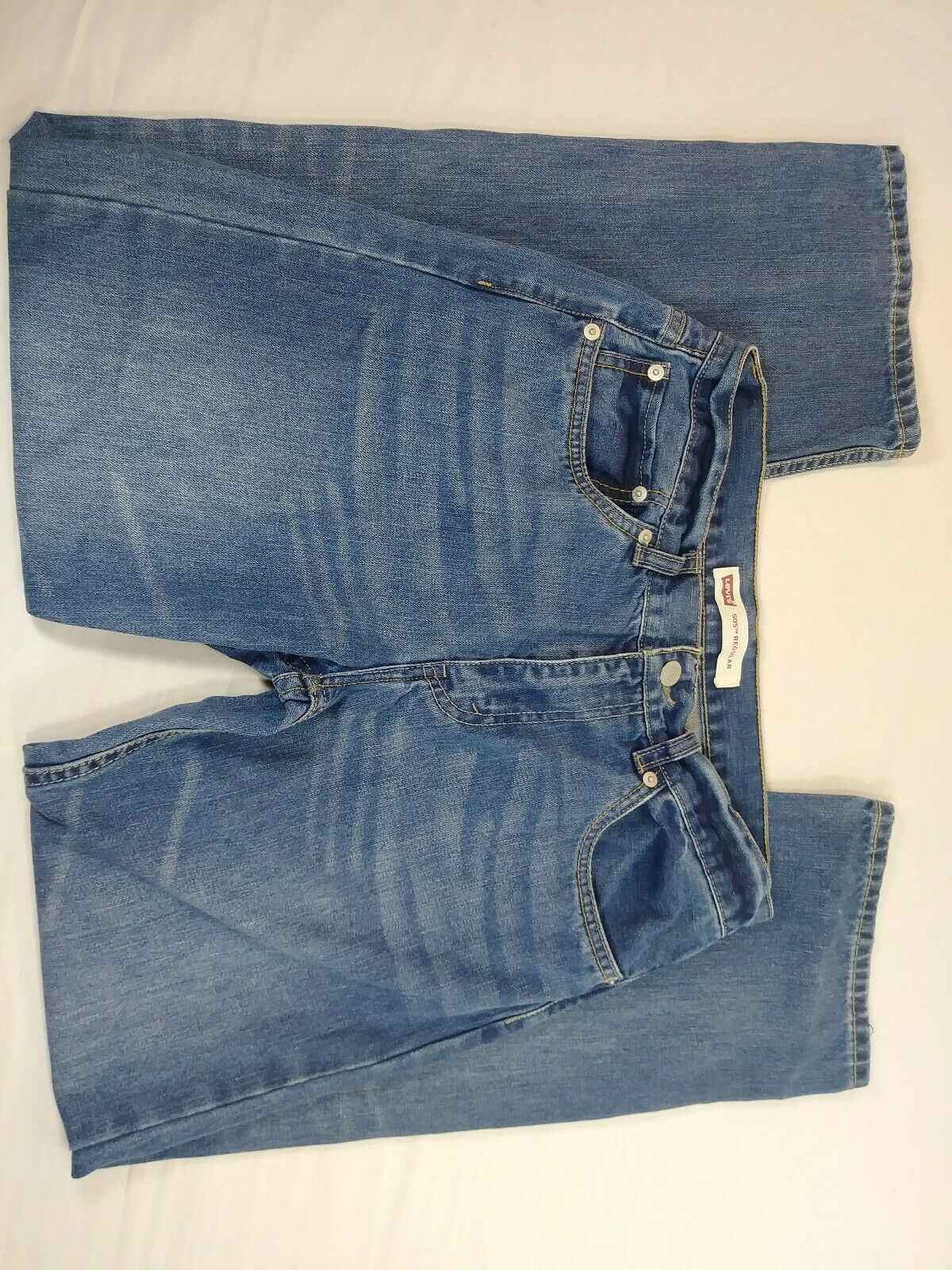 "Primary image for Boys Levi's 505 Straight relaxed 18 Blue Jeans 28"" inseam (dl)"