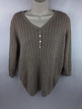 Karen Scott Women's Beige Tan Cable Knit Cotton Sweater Size XL - $14.01
