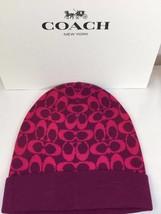 Coach women's signature logo knit hat F86024 fuchsia one size - $40.06