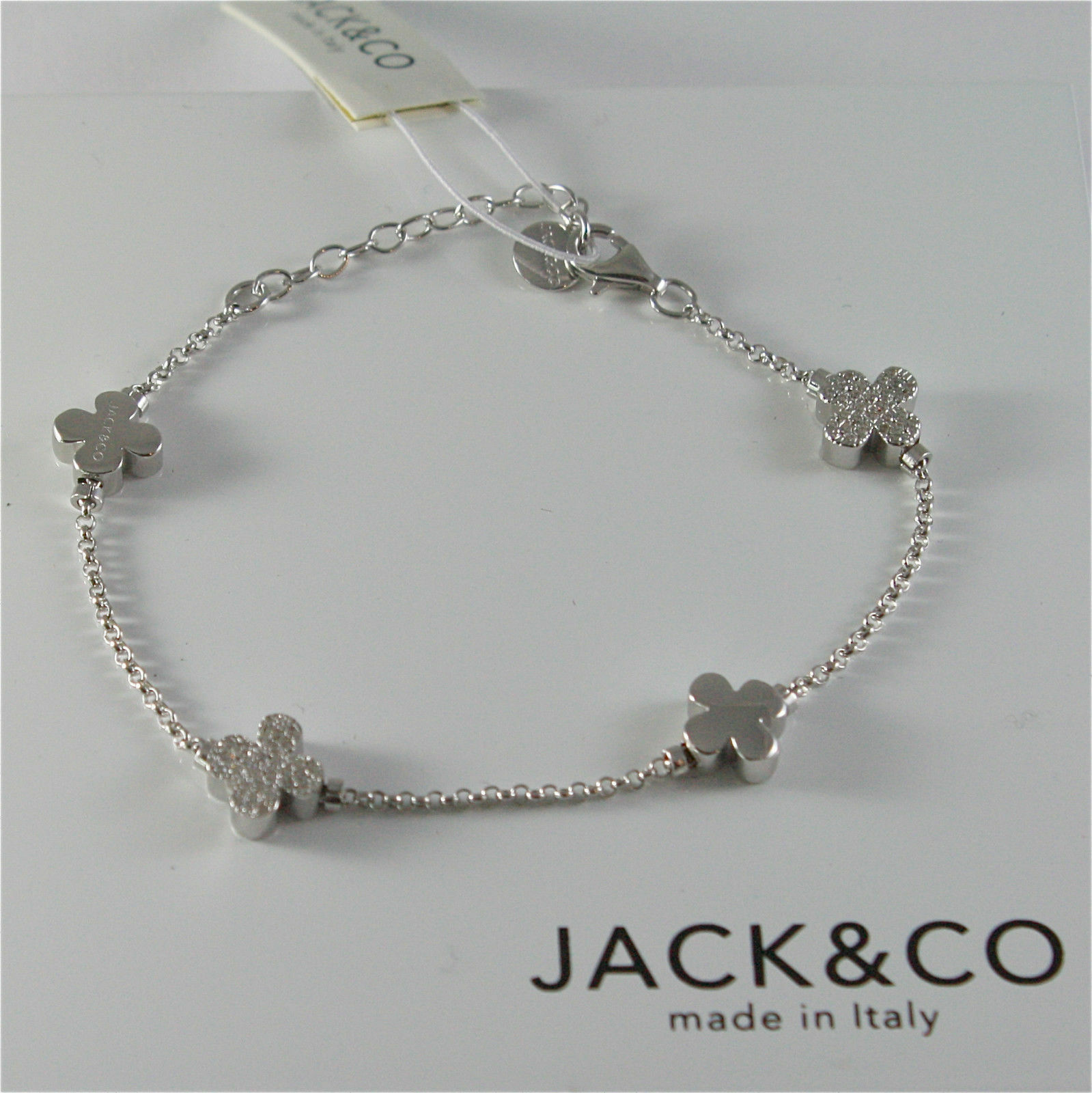 Silver Bracelet 925 Jack&co with Four-Leaf Clover and Zircon Cubic JCB0742