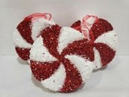 (3) Christmas Holiday LARGE Red White Candy Cane Peppermint Ornaments De... - $29.99