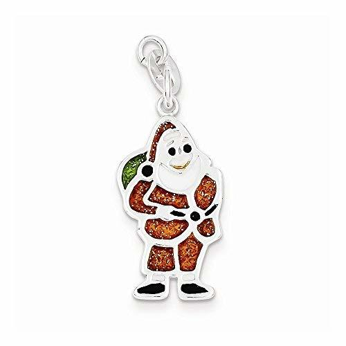Primary image for Sterling Silver Polished & Enameled Santa Charm, Best Quality Free Gift Box
