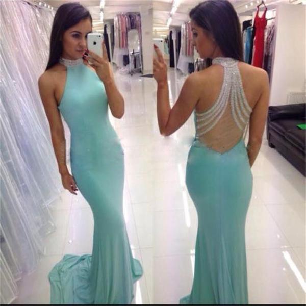 High neck mermaid blue sexy custom evening prom long prom dresses pd0030