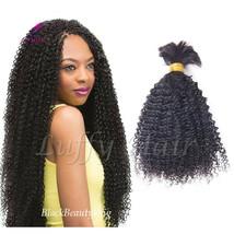 Afro Kinky Curly Monglian Human Hair Bulk Small Curly Braiding Hair Bulk... - $41.73+