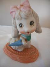 Vintage Homco Porcelain anthropomorphic Poodle Puppy Porcelain Figurine Umbrella - $9.89