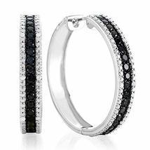 1.00 Ct Black & White Diamond Hoop Earrings