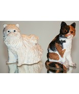 Vintage Cats PERSIAN Cat & CALICO Kitty Kitten Figurines, Made In Indonesia - $15.88