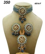 Indian Ethnic Kundan Gold Plated Pendant Necklace Earring tika Jewelry S... - $27.71