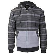 vkwear Men's Two Tone Sherpa Lined Fleece Zip Up Hoodie (XL, White/Heather)