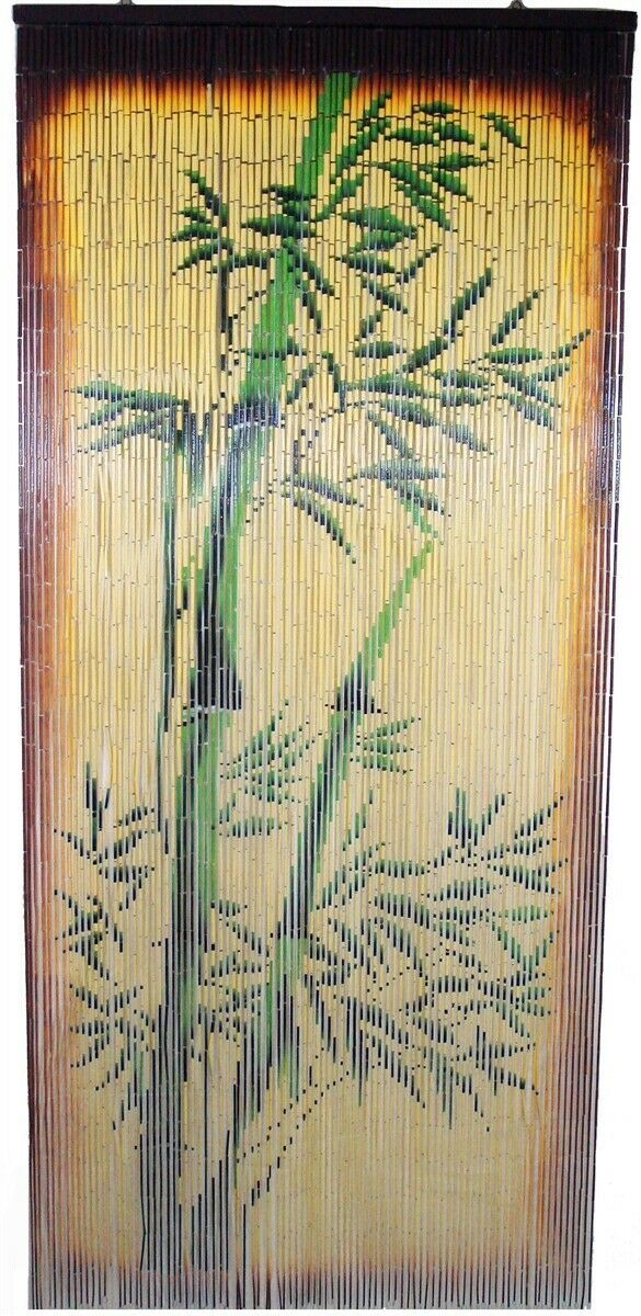 Primary image for Natural Bamboo Beaded Curtain Bamboo Tree Scene Beads Window Doors Room Divider