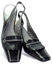Etienne Aigner 7M 'Employ' Black Slip On Kiltie Slingback Block Heel Square Toe - $22.91