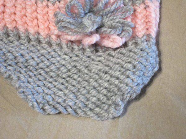 Handmade Knitted Pink Gray Billed Infant Winter Hat Cap CUTE