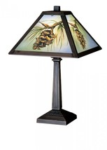 "Meyda Tiffany 27498 Northwoods Pinecone Hand Painted Accent Lamp, 16""H - $171.00"