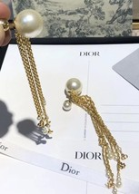 NEW AUTH Christian Dior 2020 DOUBLE PEARL EARRINGS GOLD DANGLE MULTI STRAND image 9