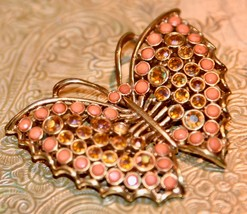 "Vintage Butterfly Rhinestone Faux CORAL Pin Brooch Goldtone PRETTY 2.25"" W - $24.99"