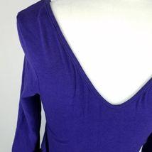 Express Dress Womens Sz 8 Black Purple Elastic Waist Stretch 3/4 Sleeve Pockets image 5