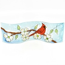 Fused Art Glass Cardinal Flower Dogwood Wavy Decor Sun Catcher Handmade Ecuador