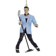 Elvis® Blue Suit Hound Dog Elvis With Microphone Ornament w - $17.99