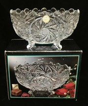 Crystal Clear Bowl Dish Pinwheel Design Candy Glass Original Box Oval Footed - $24.74