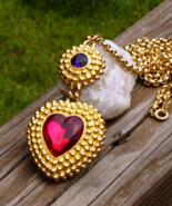 Vintage Trifari TM Dotted Red Heart Purple Gem Pendant - $395.00
