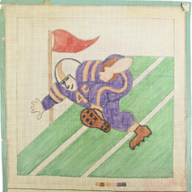 Vintage 1970's Hand Painted Canvas A Touchdown In The Making Cartoon Foo... - $28.35