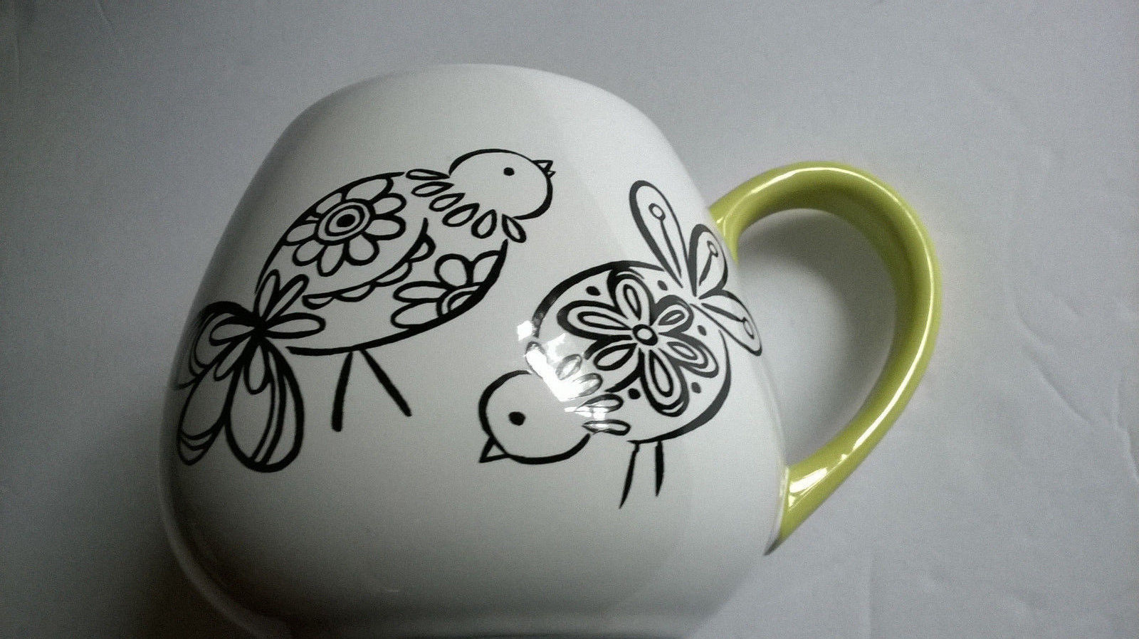 Primary image for Black & White Partridge Birds Coffee Cup Mug Green Trim Round body Formation LLC