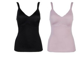 Rhonda Shear 2-pack Everyday Molded Cup Camisole (689665), Black/Mauve, ... - $21.77