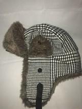 Manhatten Hat Co Fur Trappers Cap Houndstooth Pattern OSFM  - $19.80
