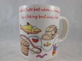 HALLMARK Coffee Tea Cup Mug Fishing  Fish basket lures hat UNused - $7.61