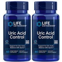 Life Extension Uric Acid Control 2X60 Caps Ayuric 500mg Terminalia bellerica - $31.56