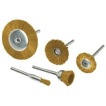 Brass Rotary Wheel Brush Set 5 Pc Brass brushes wheels for surface clean... - $17.79