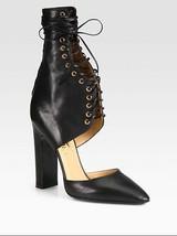 NEW $1200 Salvatore Ferragamo Black Pumps Shantelle High Lace-up Leather... - $250.00