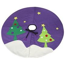 [Happy Time] Purple Xmas Tree Skirt Patchwork Tree Skirt Home Decor - $24.88