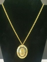 "Vintage Monet Necklace Textured Star Starburst In Gold Tone 19"" Fold ove... - $19.34"