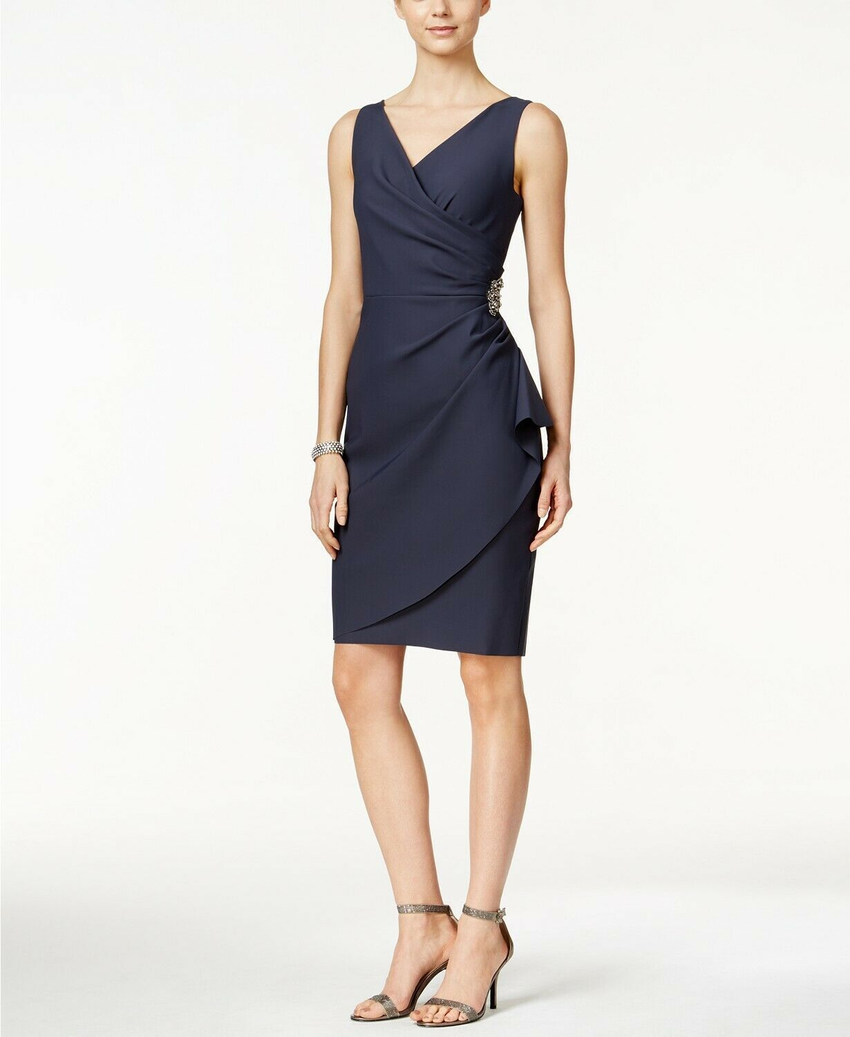 Alex Evenings Compression Embellished Ruched Sheath Dress Charcoal Size 18 $209