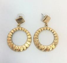 Gold-Tone Textured Teardrop Hoop Earrings M3.54 - $4.99