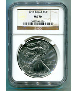 2014 AMERICAN SILVER EAGLE NGC MS70 CLASSIC BROWN LABEL AS SHOWN PREMIUM... - $73.95