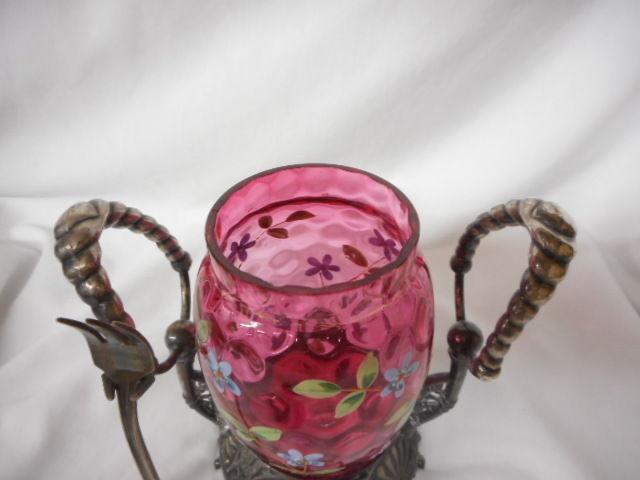Antique Moser Cranberry Glass Handpainted Egg Shaped Victorian Pickle Castor