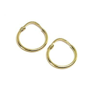 18K YELLOW GOLD ROUND CIRCLE HOOP SMALL EARRINGS DIAMETER 13mm x 1.2mm, ITALY