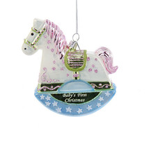 Adorable Glass Christmas Ornament-Baby's First Rocking Horse-Holiday! - $15.19
